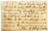 Letter by Capt. John H. Ellis, regarding enlistment of Mowery H. Thompson