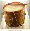 Civil War era snare drum with drumsticks
