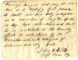 Letter from Capt. John H. Ellis, regarding enlistment of Isaac B. Babb