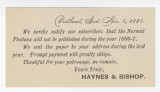 1886-11-06 Notice from Haynes & Bishop to Dumont Lotz
