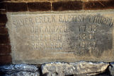 Silver Creek Baptist Church, Detail of cornerstone