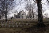Crown Hill Cemetery, Union soldiers' graves with gothic chapel in the background