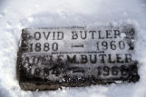 Burial marker for Ovid Butler and Adele M. Butler