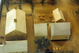 Model of the New Harmony cooper shop, aerial view