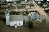 Model of an unidentified New Harmony church, Aerial view