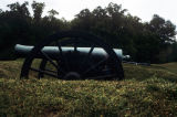 Replicas of Civil War-era cannons in field artillery positions