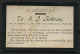 Obituary card for Dr. S. P. Anthony