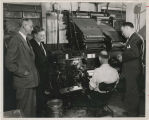 Linotype operator and observers