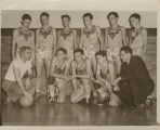 Burris Laboratory School Owls coach Scott Fisher and boys basketball team, 1942-1944