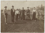 Unidentified group playing croquet, possibly Burkey family members