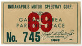 Indianapolis Motor Speedway parking pass