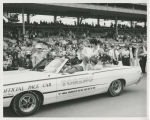 Bobby Unser and family riding in pace car after Indianapolis 500 victory