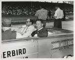 Tony Hulman and two unidentified men in pace car