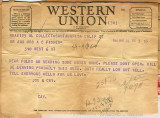 Joseph M. Fisher telegram 1944-03-27