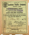 Southern Pacific train ticket to Muncie, Indiana