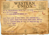 Joseph M. Fisher telegram 1944-03-19
