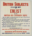 British Subjects It Is Your Duty To Enlist