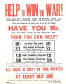 Help To Win The War!