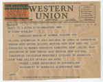 Telegram from Robert Lister to Clark Wissler
