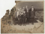 Boys posed in front of Yorktown Methodist Church