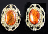 Earrings - Amber filagree