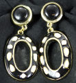 Earrings - Black and white dangle