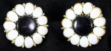 Earrings - Black and white flower