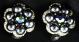 Earrings - Black pearl flower