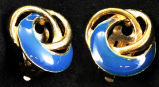Earrings - Blue enamel