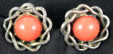 Earrings - Coral button