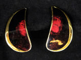 Earrings - Red and gold half moons