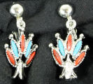 Earrings - Turquoise and coral