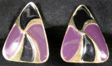 Earrings - Violet and black triangle
