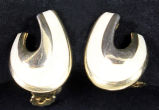"Earrings - White and gold """"U"""" shape"