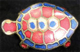 Pin - Gold guilloche turtle