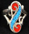 Ring - Southwestern turquoise and coral swirl