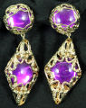 Earrings - Gold filigree with purple stone
