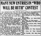 Many new entries in who will be Ruth contest