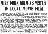 Miss Dora Grim as Ruth in local movie film