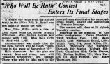 Who will be Ruth contest enters its final stages