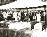 Caskets of the Beal Family at the burial site