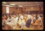 Crowd listening to Gov. Otis Bowen at a Criminal Justice seminar, 1976