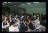 Robert Coatie and crowd listening to Shirley Chisholm speak at Ball State University, 1978