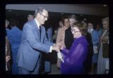 Pres. Richard W. Burkhardt and Ethel Himelick at Himelick's retirement reception