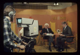 Arthur Fiedler and Jim Nickerson on the set of Second Look on WIPB-TV