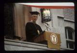 Pres. Robert P. Bell delivering remarks at Ball State University spring commencement, 1982