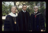 Pres. John J. Pruis, John Fisher and Alex Bracken at Ball State University spring commencement,...