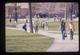 Ball State University students walking through Old Quadrangle
