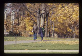 Ball State University students walking on campus in the fall