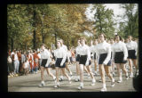 Marching Mademoiselle Angel Flight at Ball State Teachers College homecoming parade, circa...